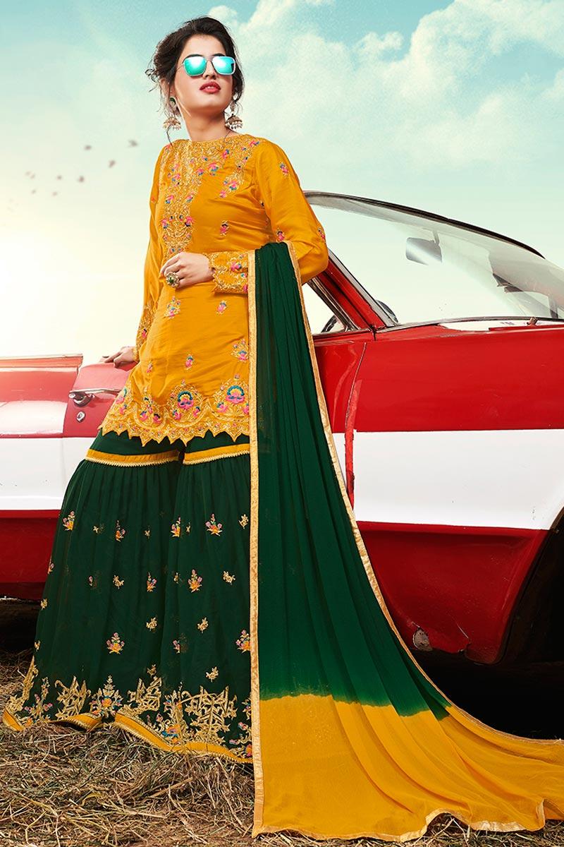 Satin Fabric Function Wear Mustard Color Pakistani Style Sharara Dress