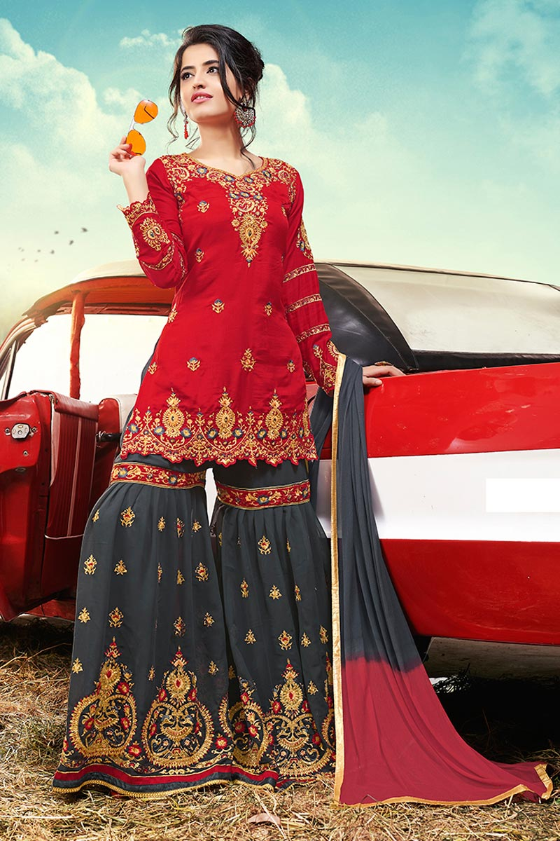 Function Wear Red Color Pakistani Style Satin Fabric Sharara Suit