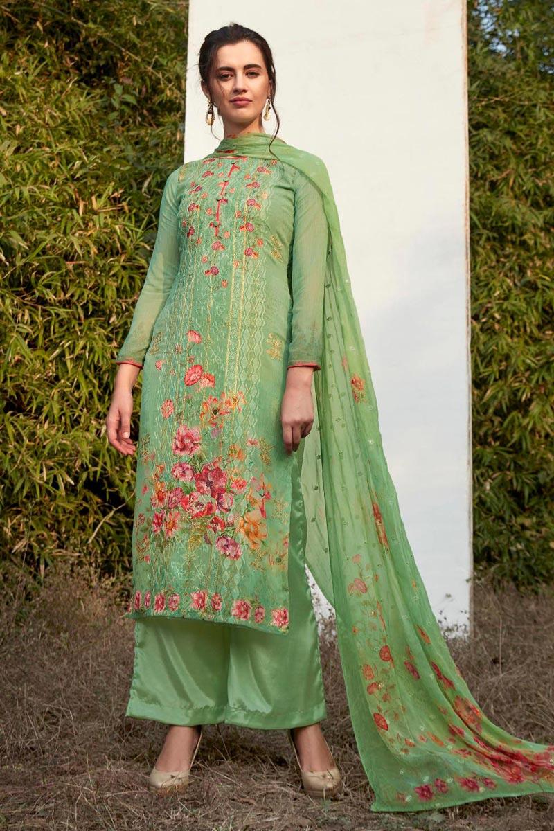 Festive Wear Sea Green Color Digital Printed Palazzo Suit In Georgette Fabric