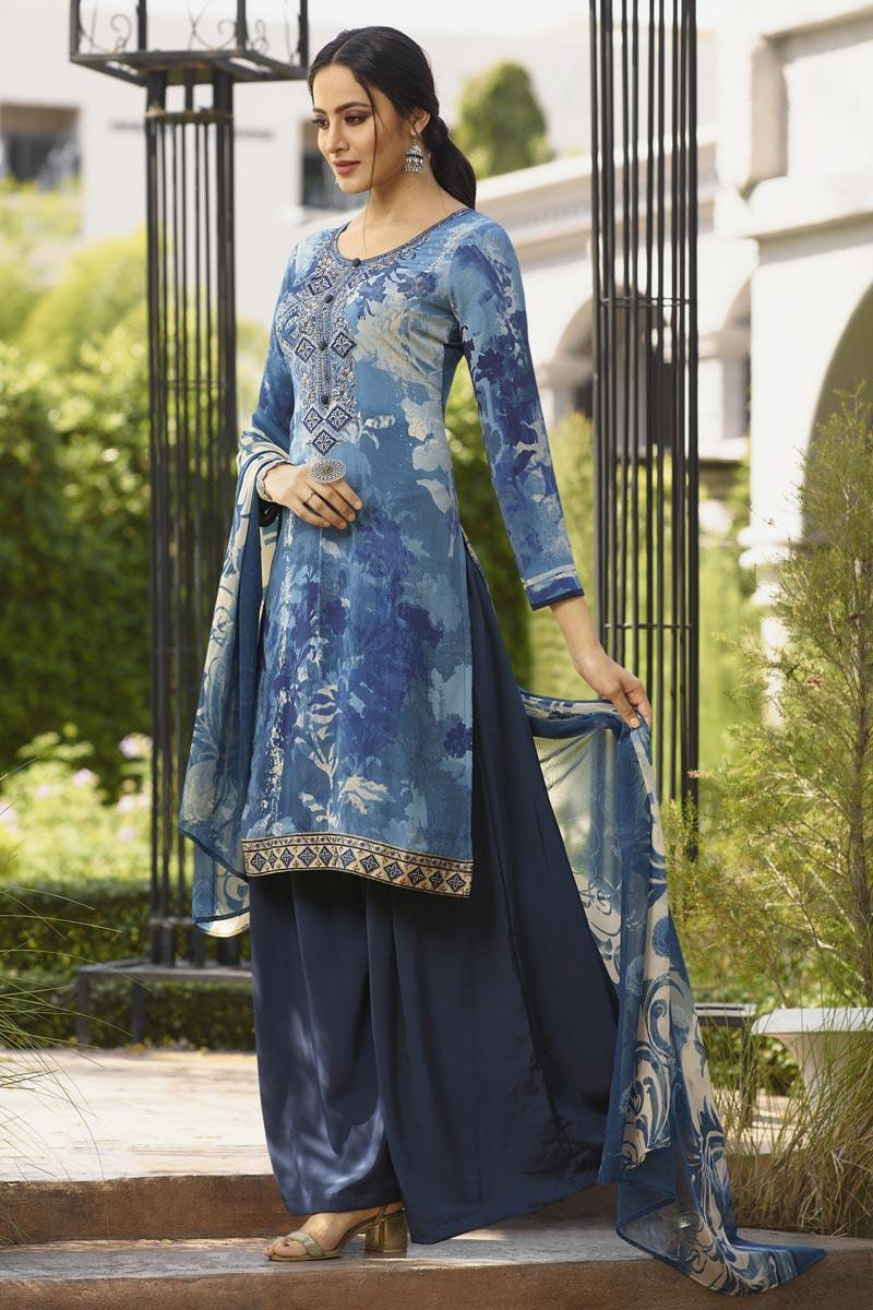 Crepe Fabric Blue Color Festive Wear Printed Palazzo Dress