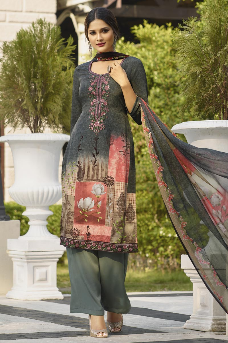 Grey Color Festive Wear Printed Palazzo Dress In Crepe Fabric