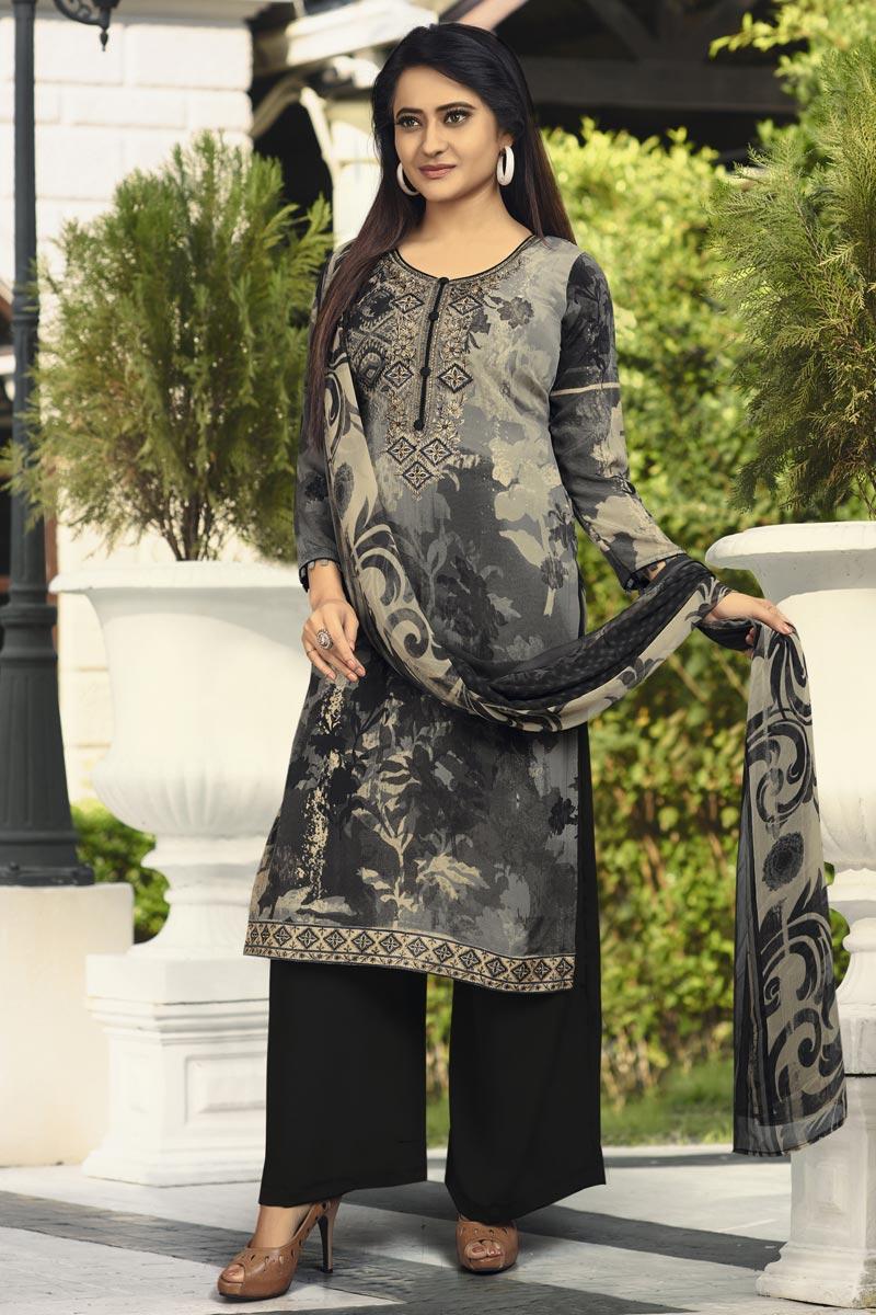 Festive Wear Crepe Fabric Black Color Printed Palazzo Suit
