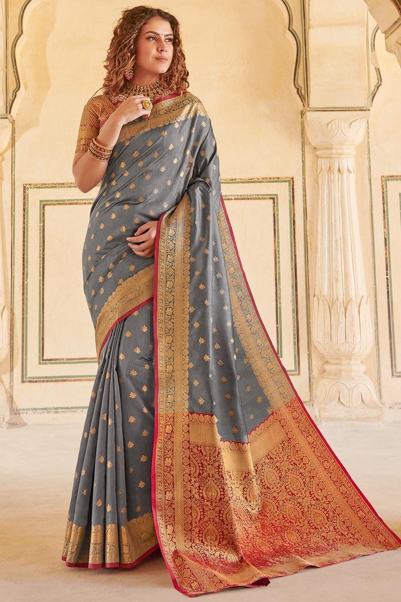 Grey Color Festive Wear Weaving Work Designer Art Silk Fabric Saree