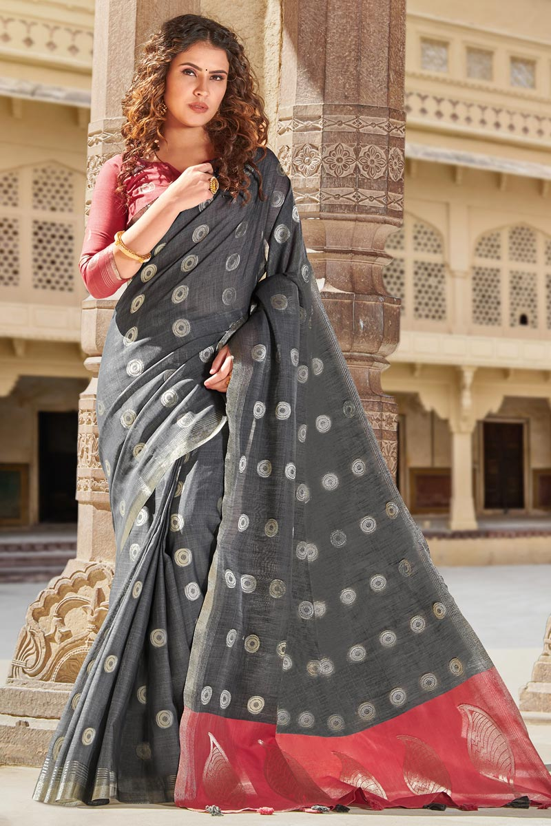Puja Wear Grey Color Linen Cotton Fabric Weaving Work Trendy Saree