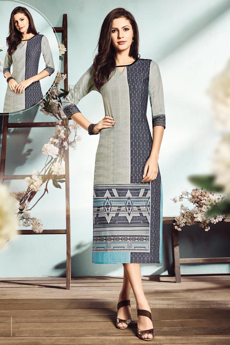 Casual Wear Fancy Grey Color Digital Printed Kurti In Cotton Fabric