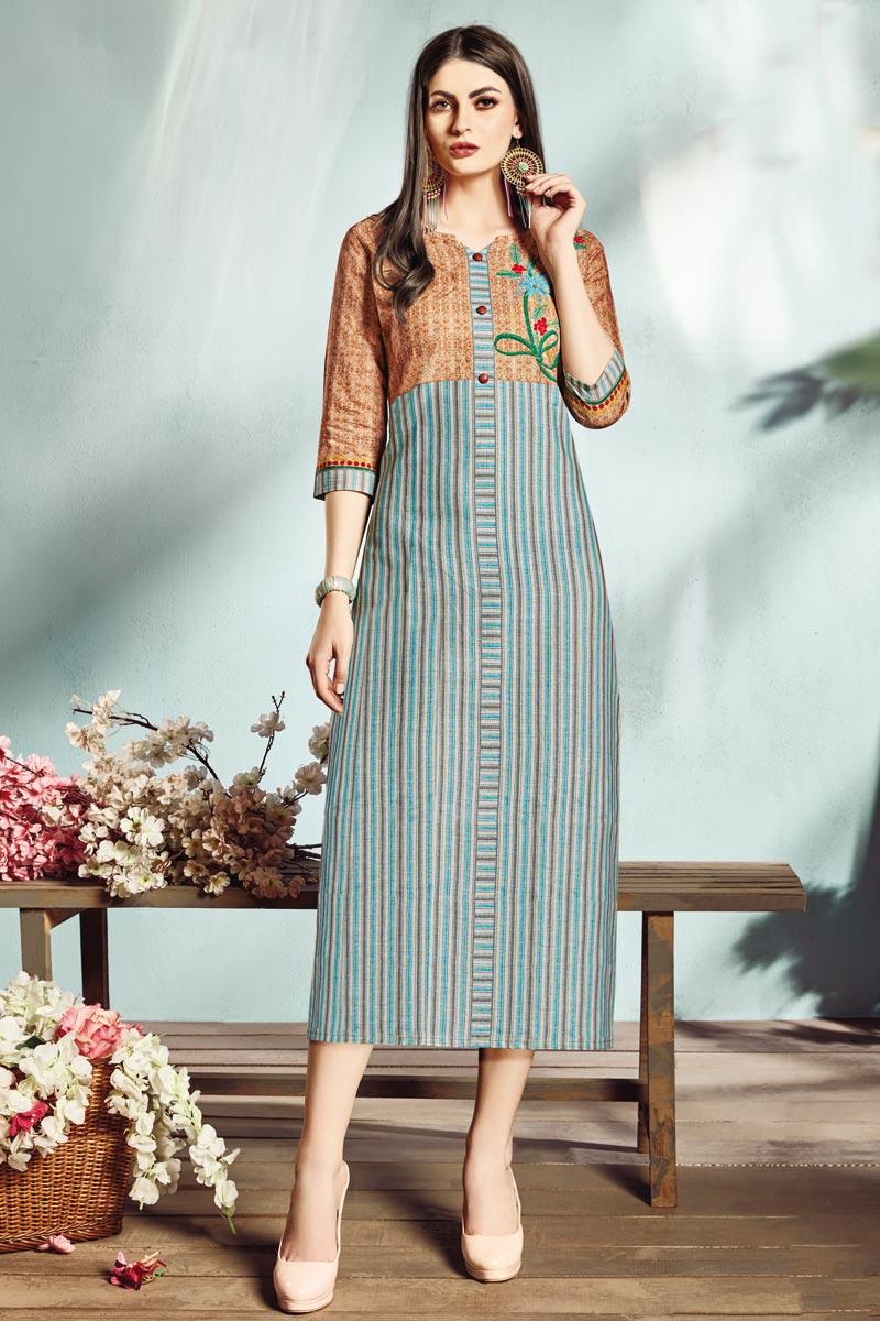 Cyan Color Fancy Casual Style Cotton Fabric Digital Printed Kurti