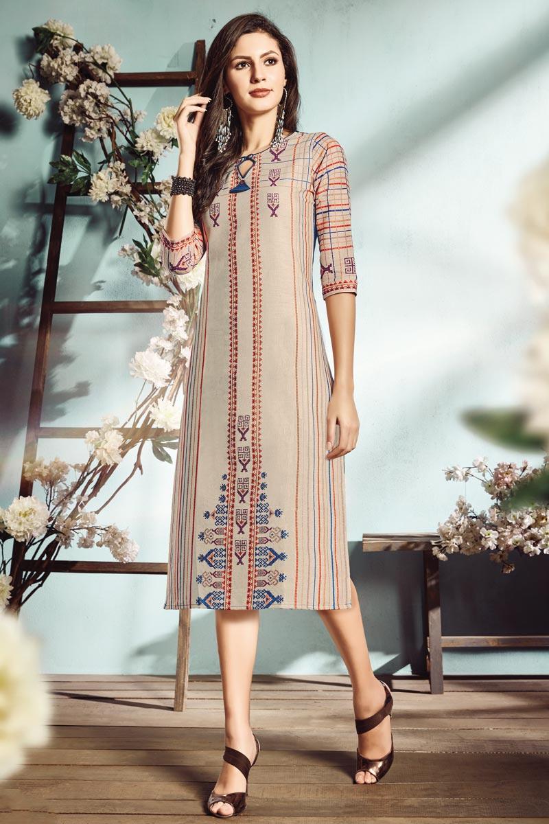 Cotton Fabric Fancy Cream Color Digital Printed Casual Wear Kurti