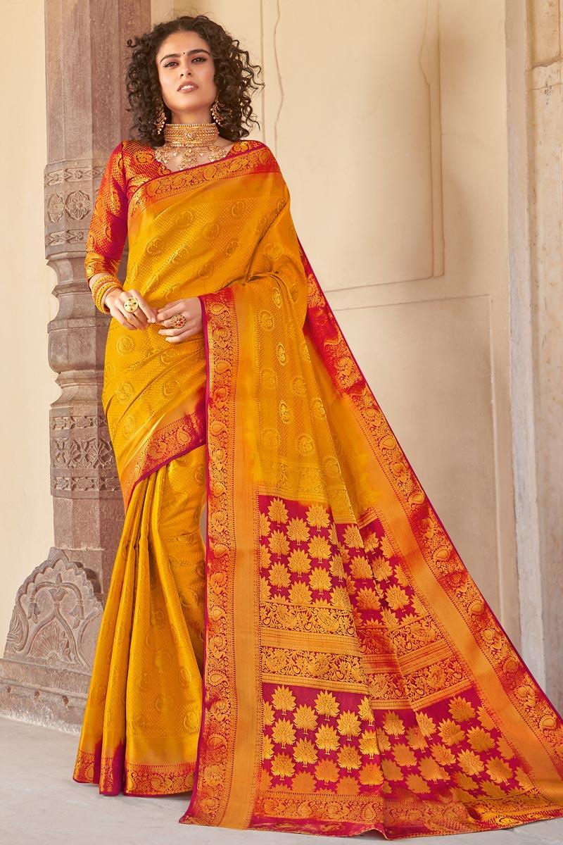 Art Silk Fabric Festive Wear Mustard Color Fancy Weaving Work Saree