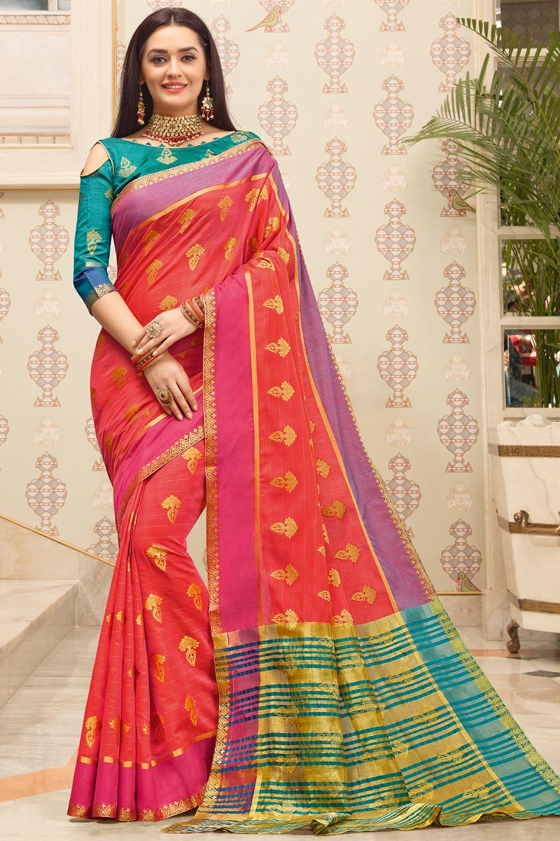 Cotton Fabric Puja Wear Pink Color Weaving Work Fancy Saree