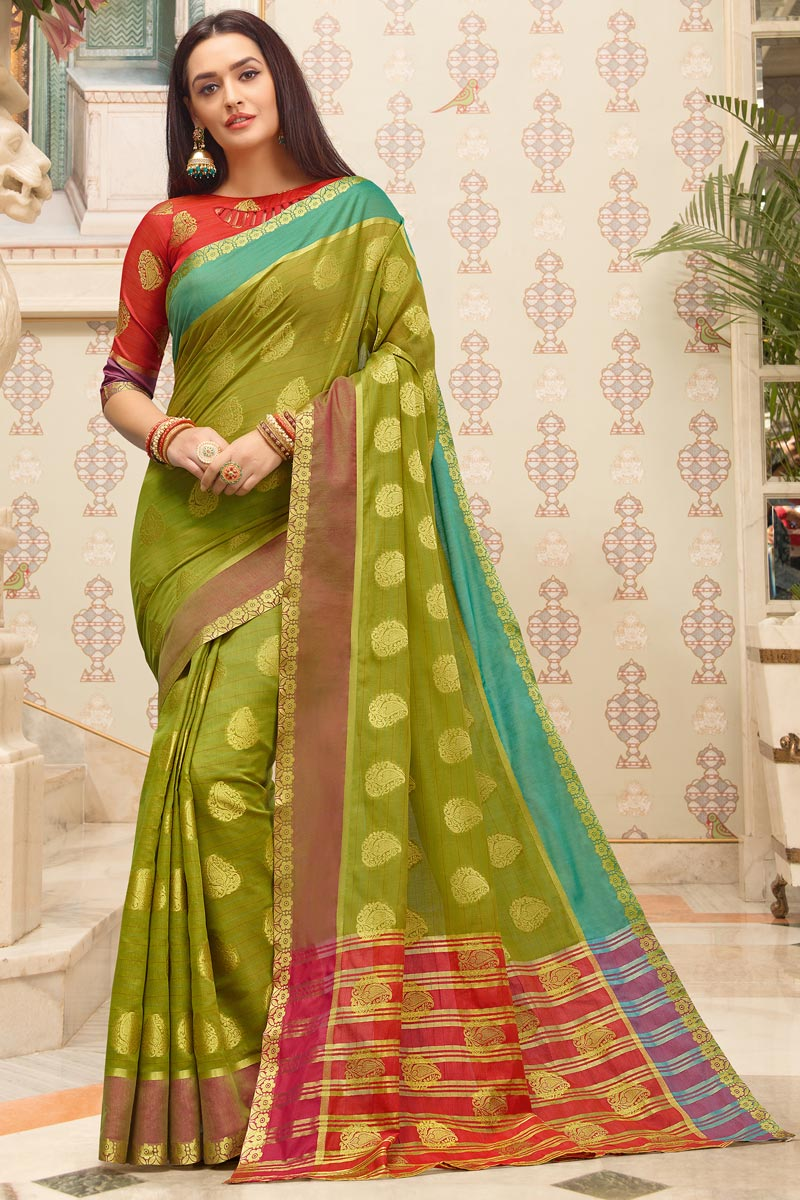 Green Color Puja Wear Weaving Work Fancy Cotton Fabric Saree