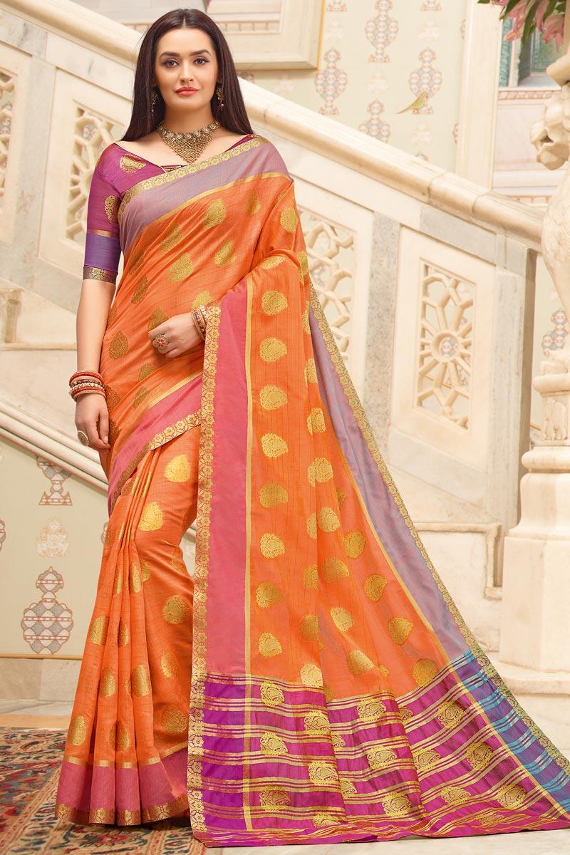 Orange Color Puja Wear Cotton Fabric Weaving Work Fancy Saree