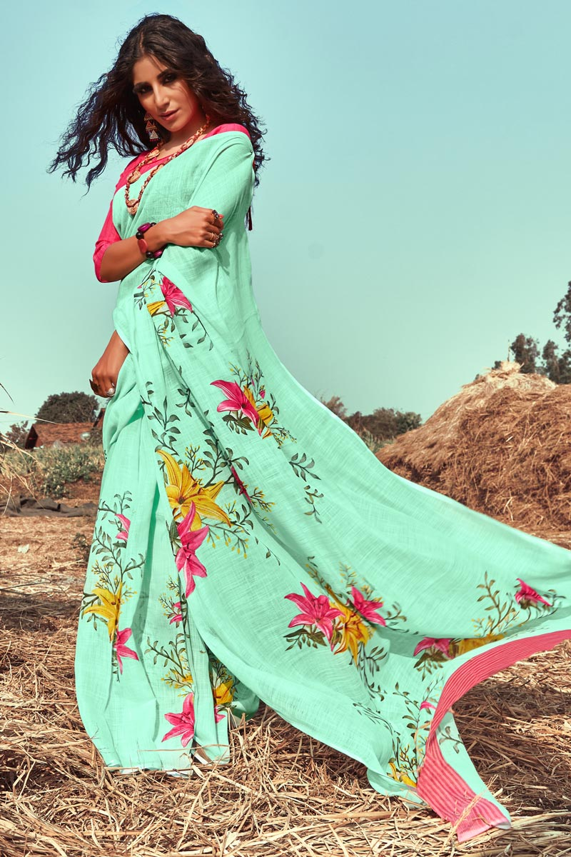 Sea Green Color Casual Wear Printed Fancy Linen Fabric Saree
