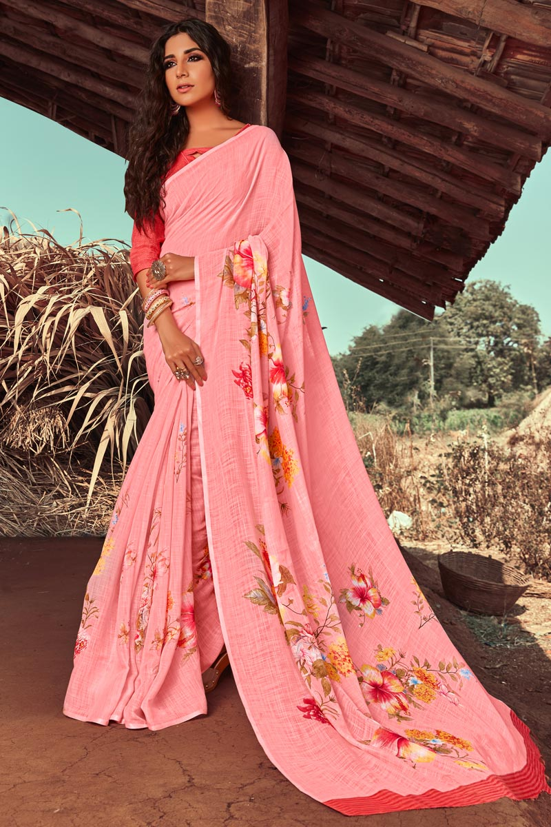 Pink Color Casual Wear Linen Fabric Printed Fancy Saree