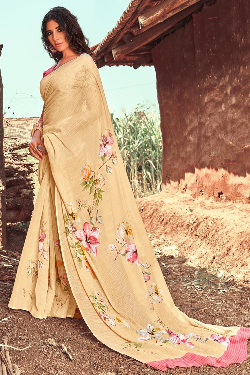 Linen Fabric Casual Wear Printed Fancy Saree In Cream Color