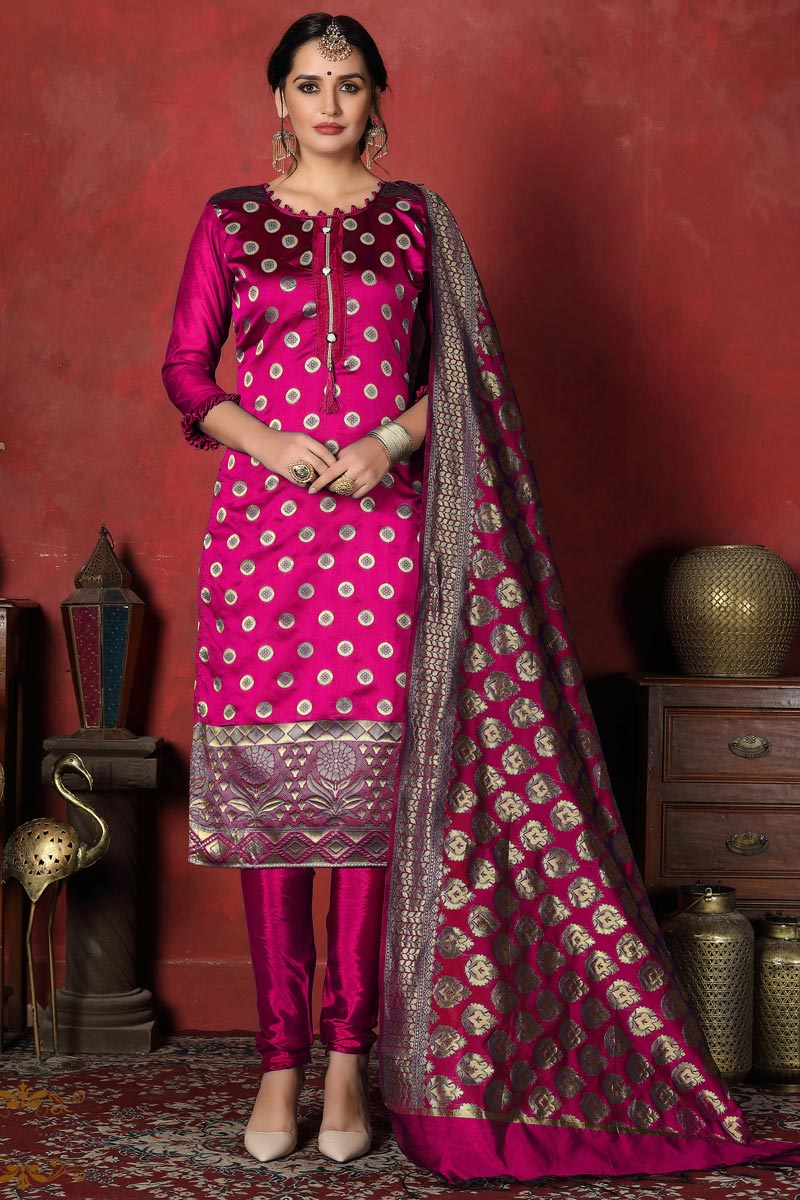 Festive Wear Rani Color Fancy Banarasi Silk Fabric Straight Cut Suit