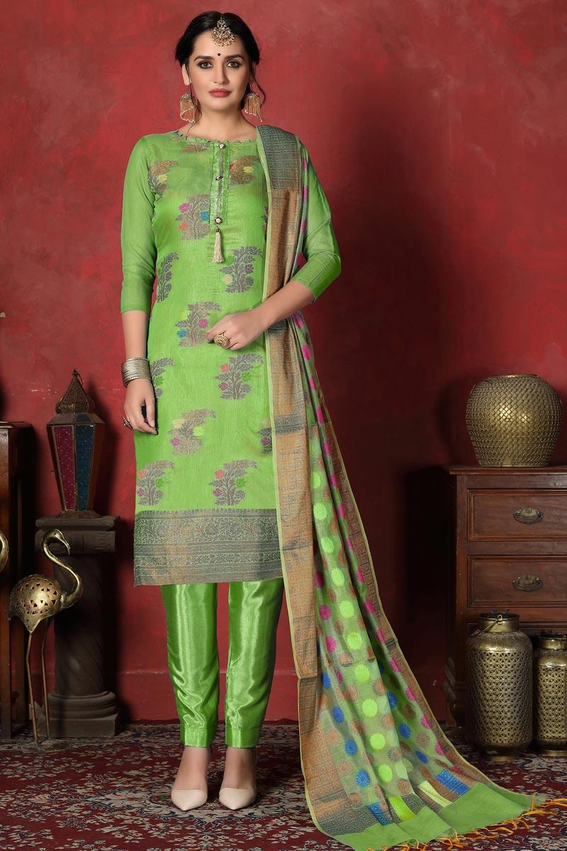 Festive Wear Green Color Chic Banarasi Silk Fabric Straight Cut Suit