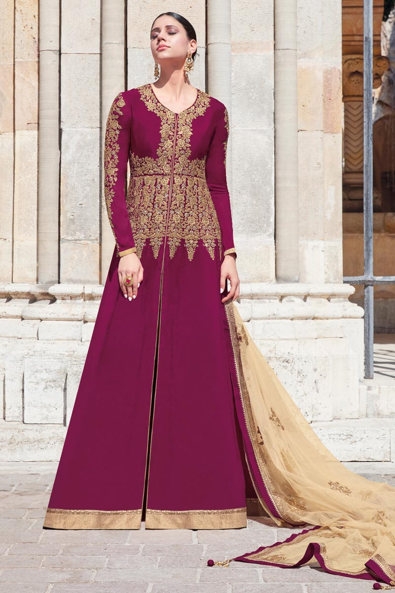 Function Wear Georgette Fabric Wine Color Embroidered Floor Length Anarkali Suit