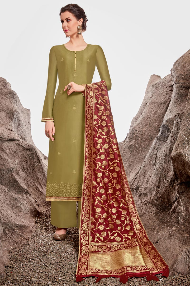Sangeet Wear Chanderi Fabric Designer Stone Work Palazzo Dress In Olive Color