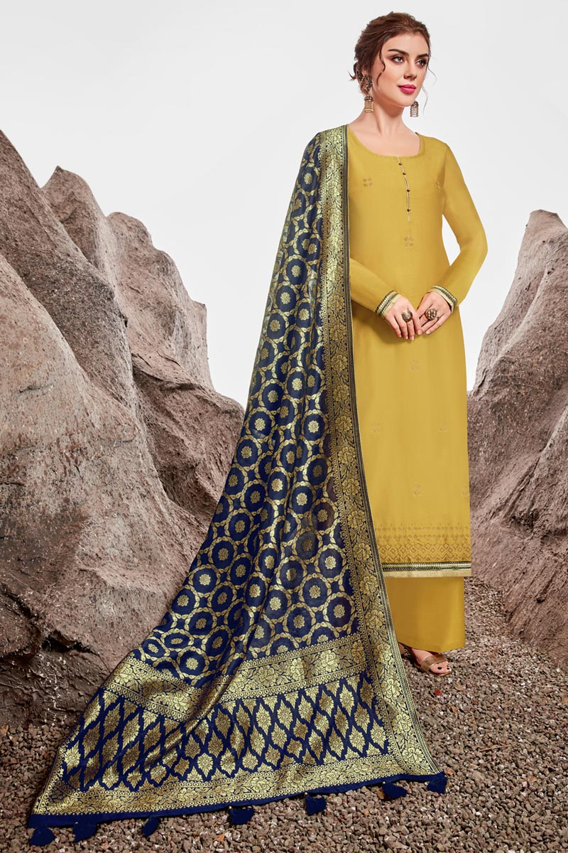 Chanderi Fabric Sangeet Wear Designer Stone Work Yellow Color Palazzo Dress