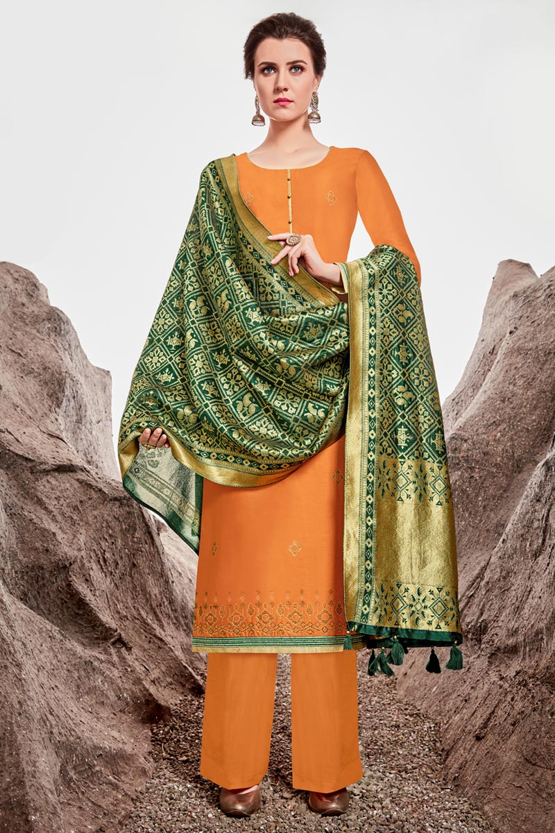 Chanderi Fabric Sangeet Wear Designer Stone Work Orange Color Palazzo Dress
