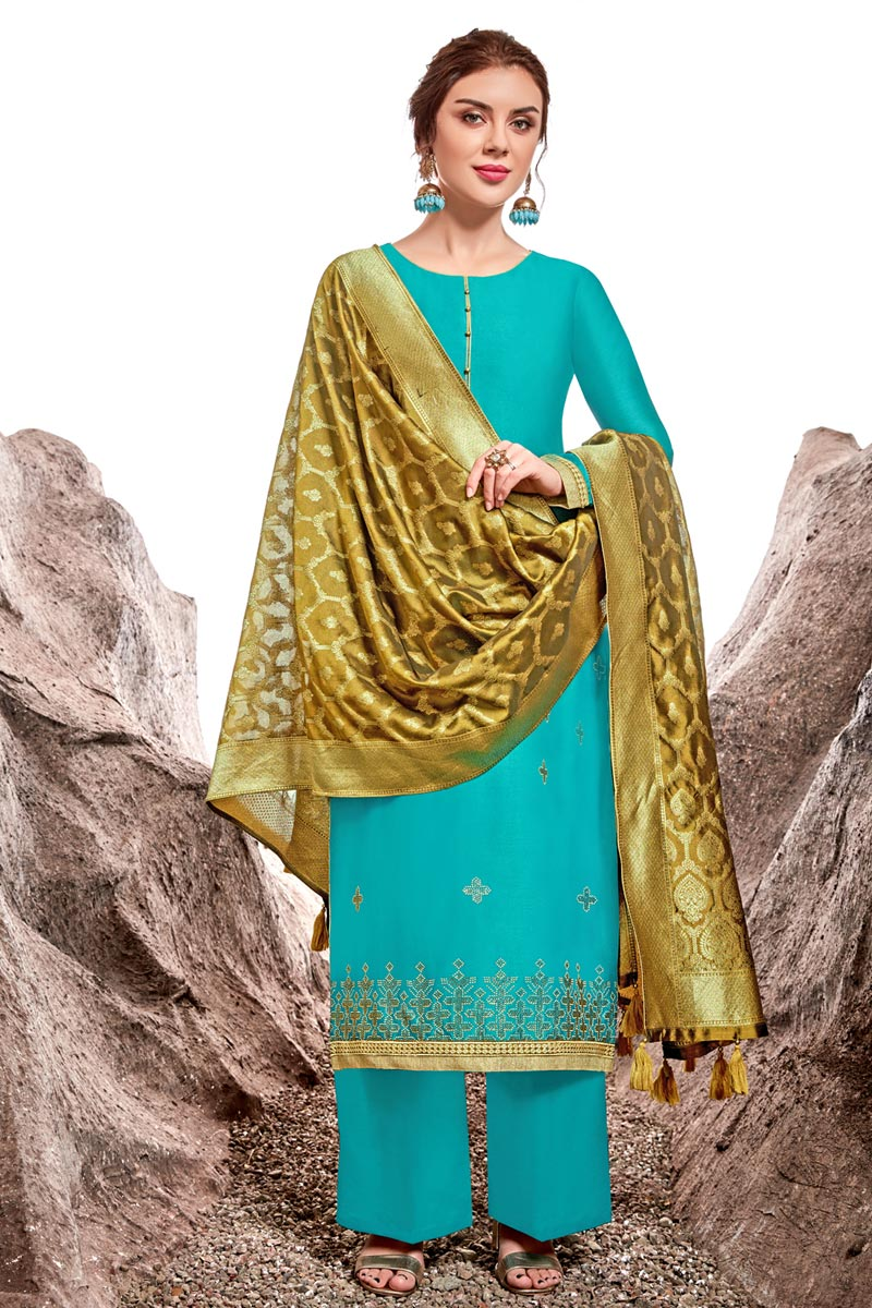 Designer Cyan Color Sangeet Wear Chanderi Fabric Stone Work Palazzo Suit
