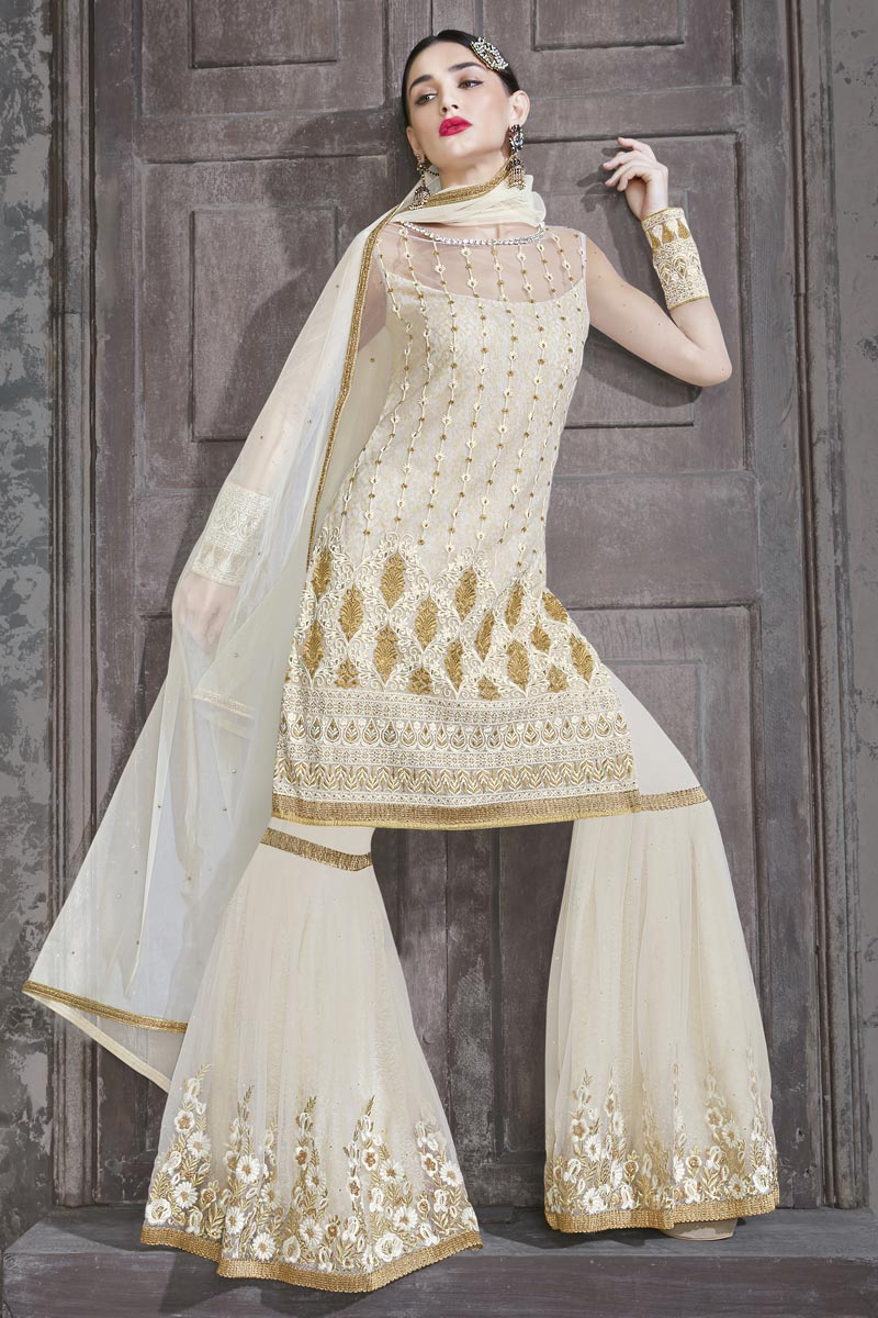 Designer Net Fabric Function Wear Embroidered Off White Color Sharara Suit