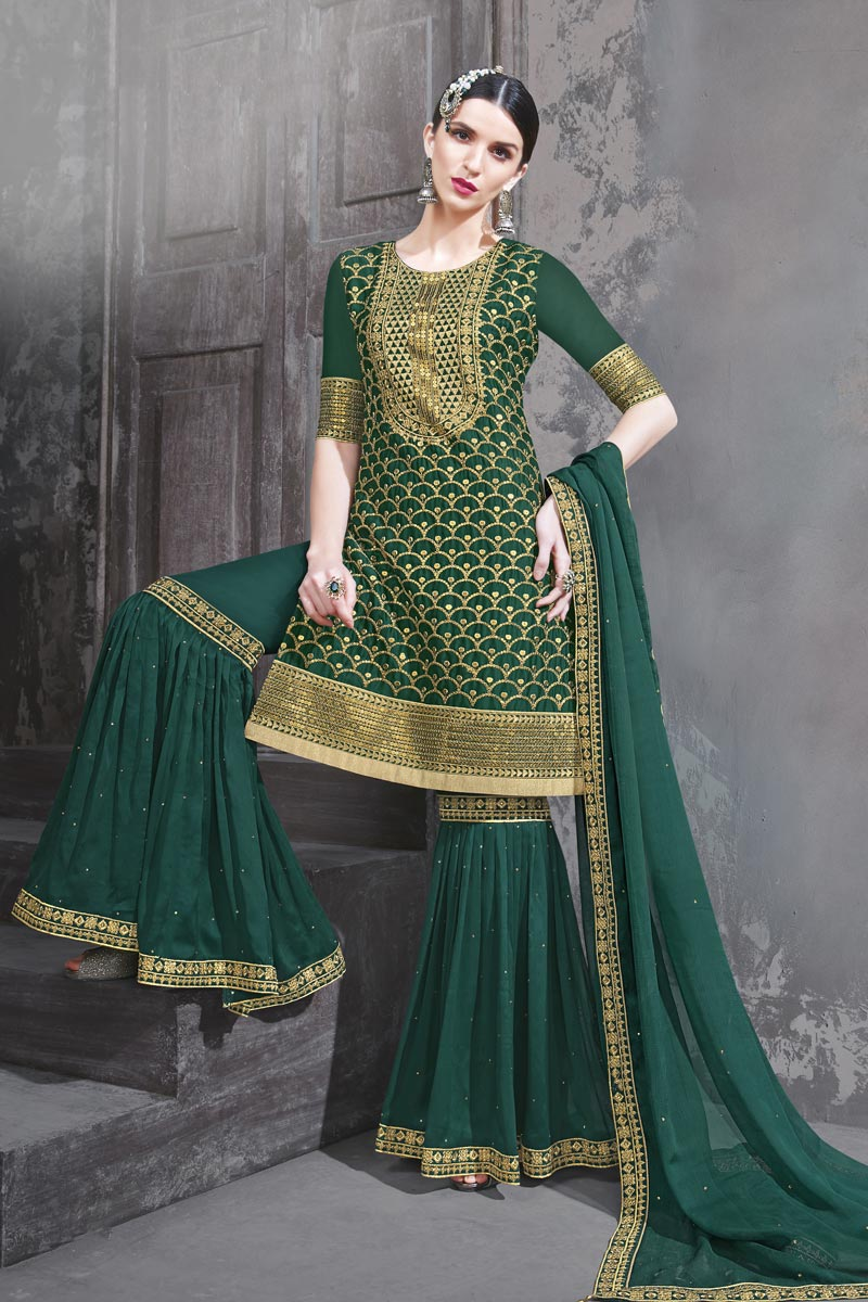 Georgette Fabric Function Wear Designer Embroidered Dark Green Color Sharara Dress