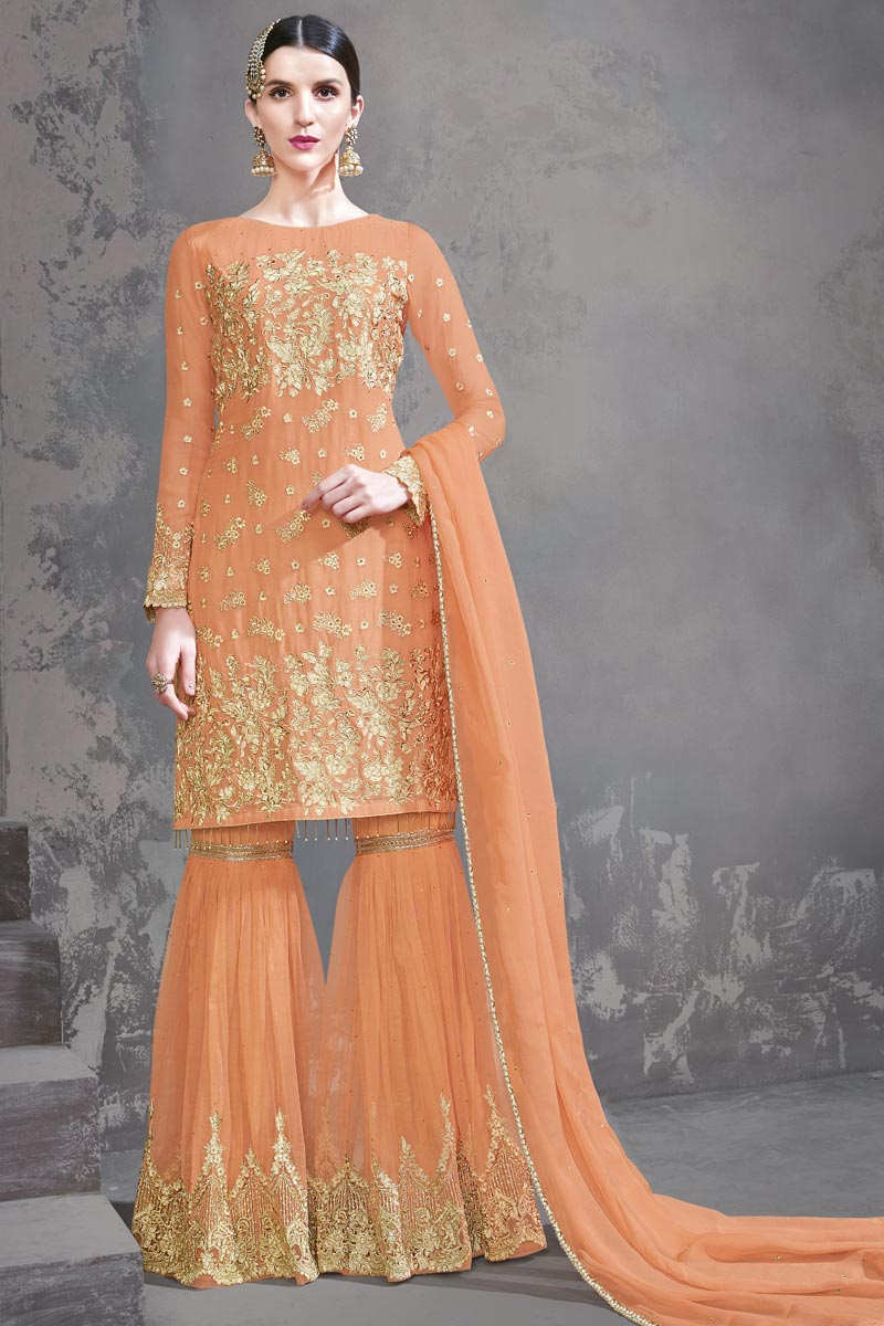 Designer Orange Color Function Wear Georgette Fabric Embroidered Sharara Suit