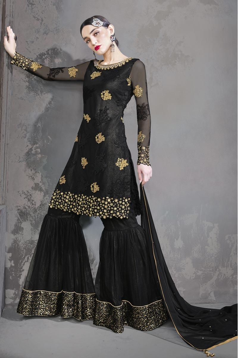 Net Fabric Black Color Function Wear Designer Embroidered Sharara Dress