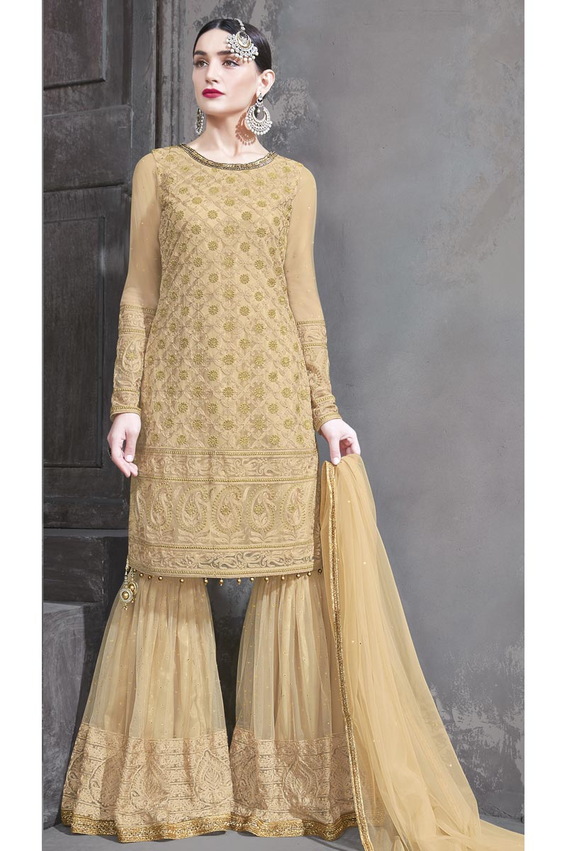 Designer Function Wear Beige Color Net Fabric Embroidered Sharara Suit