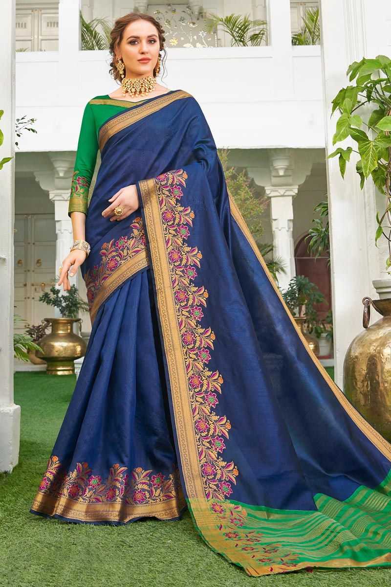 Art Silk Fabric Traditional Wear Weaving Work Fancy Saree In Navy Blue Color