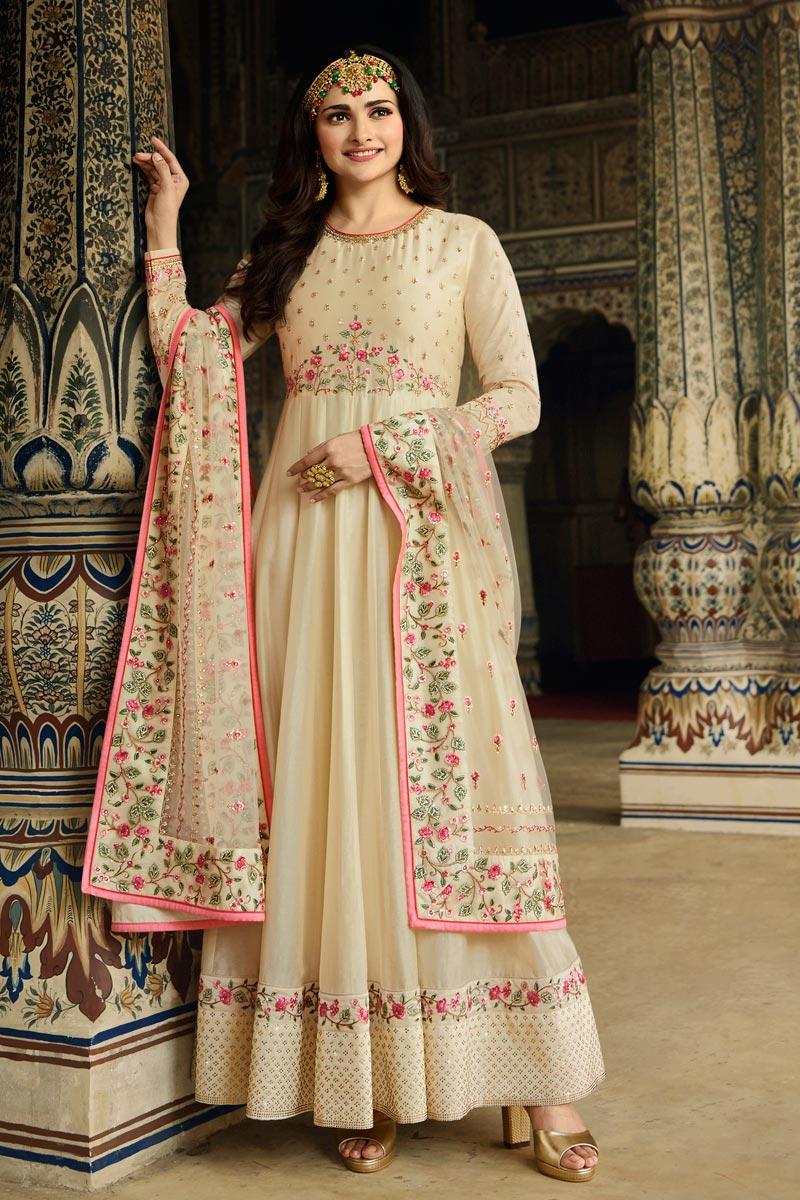 Prachi Desai Function Wear Cream Color Art Silk Fabric Embroidered Anarkali Suit