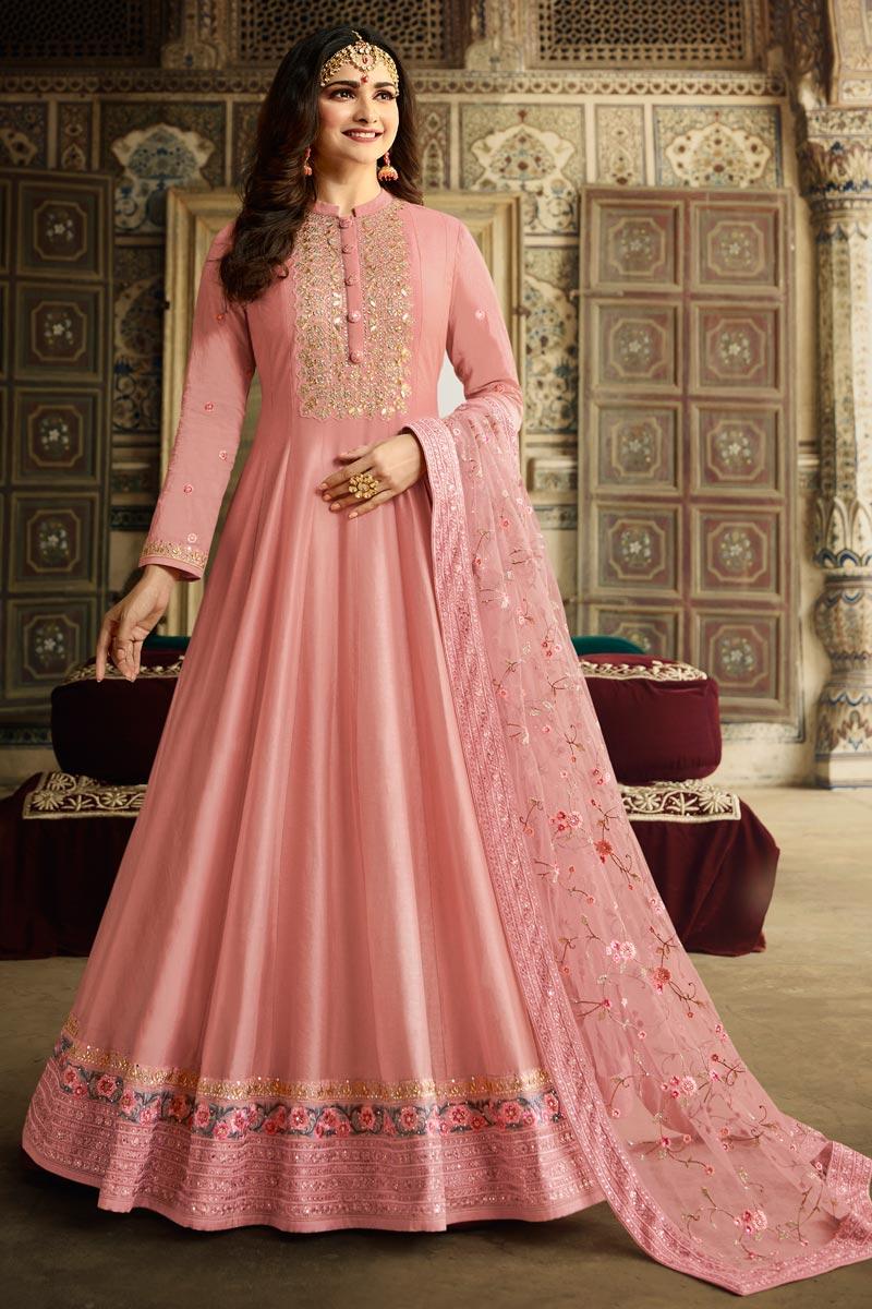 Prachi Desai Function Wear Pink Color Art Silk Fabric Embroidered Anarkali Suit