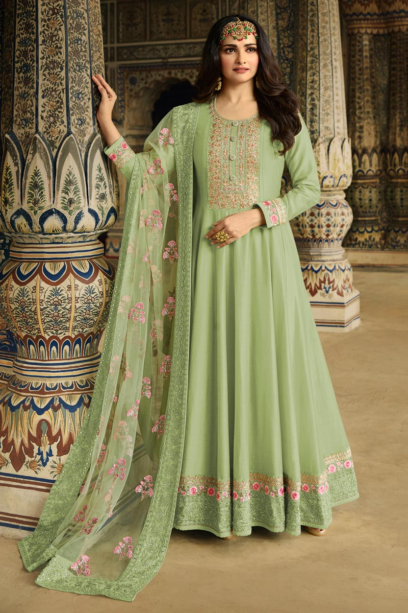 Prachi Desai Function Wear Sea Green Color Embroidered Anarkali Suit In Art Silk Fabric