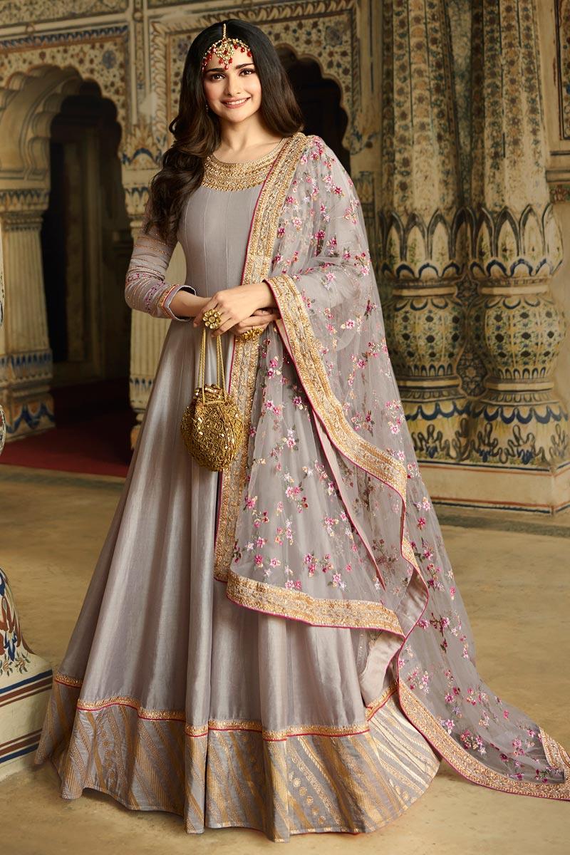 Prachi Desai Grey Color Function Wear Art Silk Fabric Embroidered Anarkali Dress