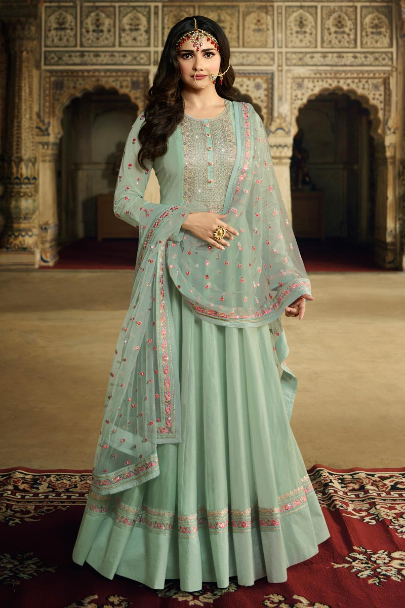 Prachi Desai Function Wear Art Silk Fabric Cyan Color Embroidered Anarkali Suit