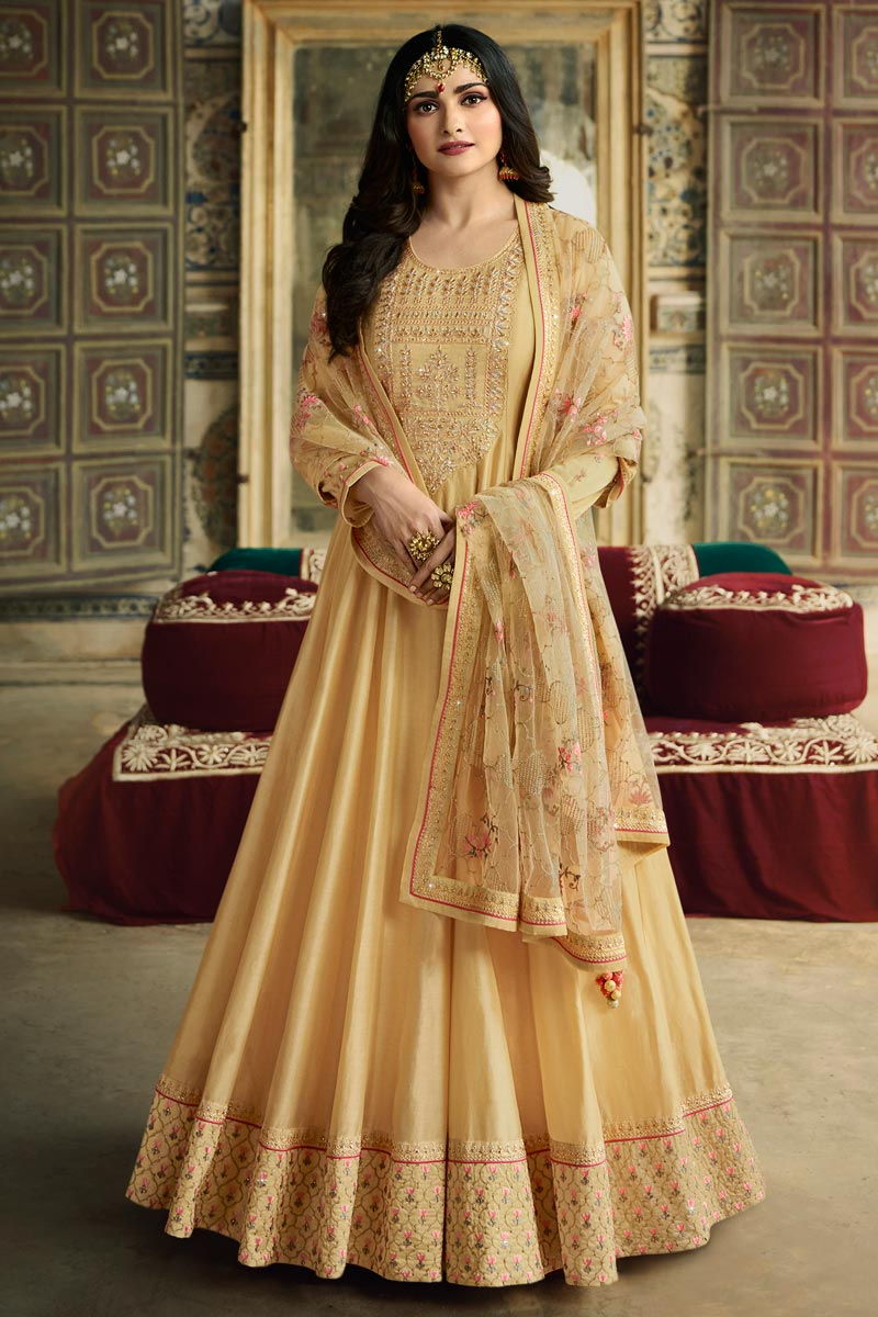 Prachi Desai Art Silk Fabric Function Wear Yellow Color Embroidered Anarkali Dress