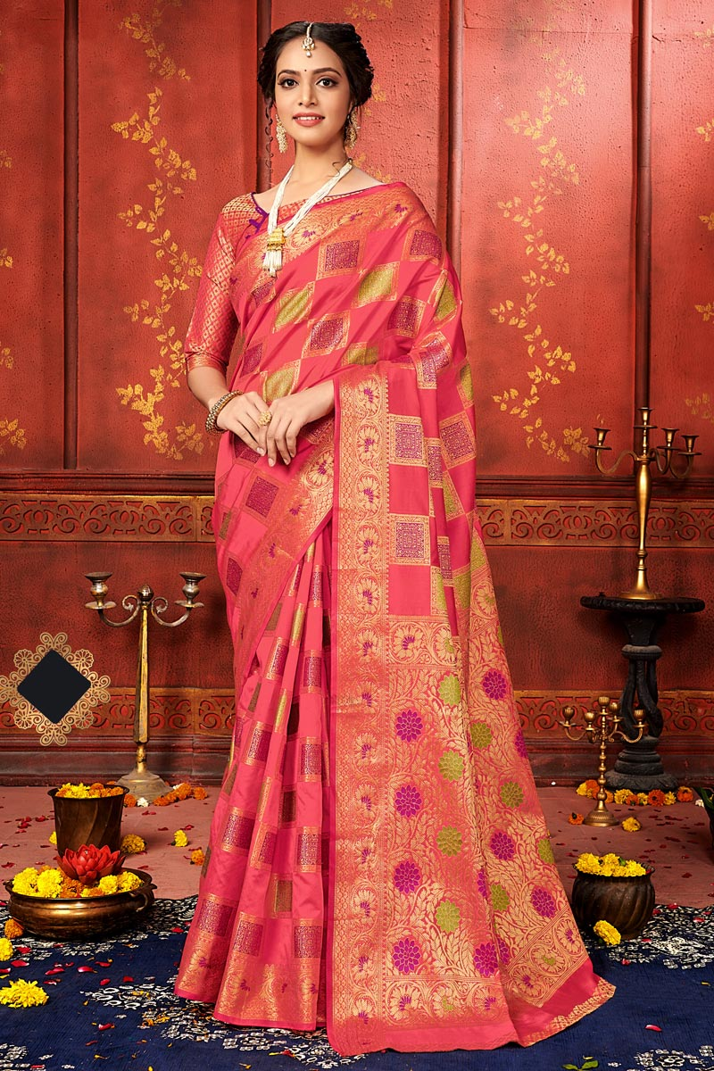 Peach Color Festive Wear Art Silk Fabric Designer Weaving Work Saree