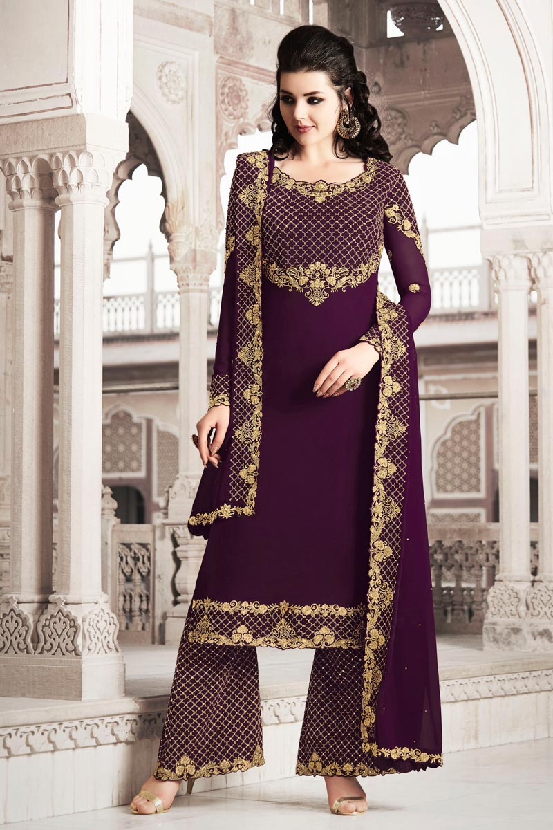 Function Wear Wine Color Designer Georgette Fabric Palazzo Suit