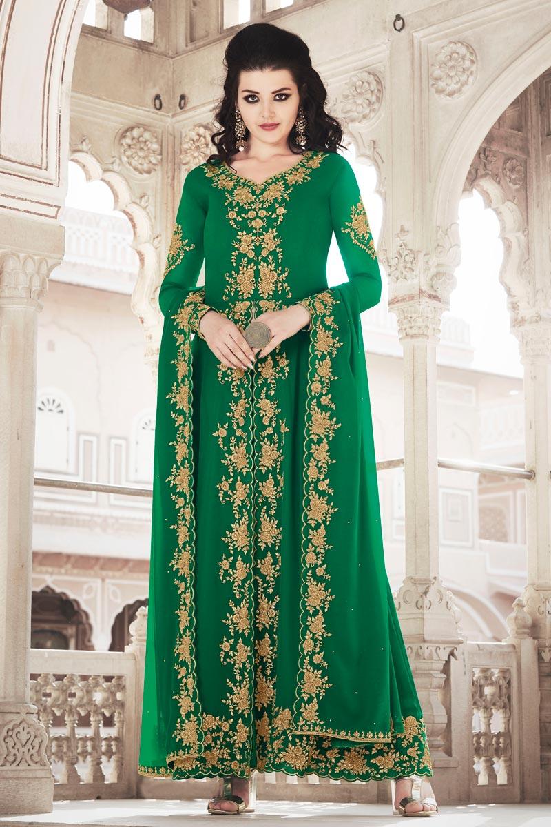 Georgette Fabric Green Color Function Wear Designer Anarkali Dress