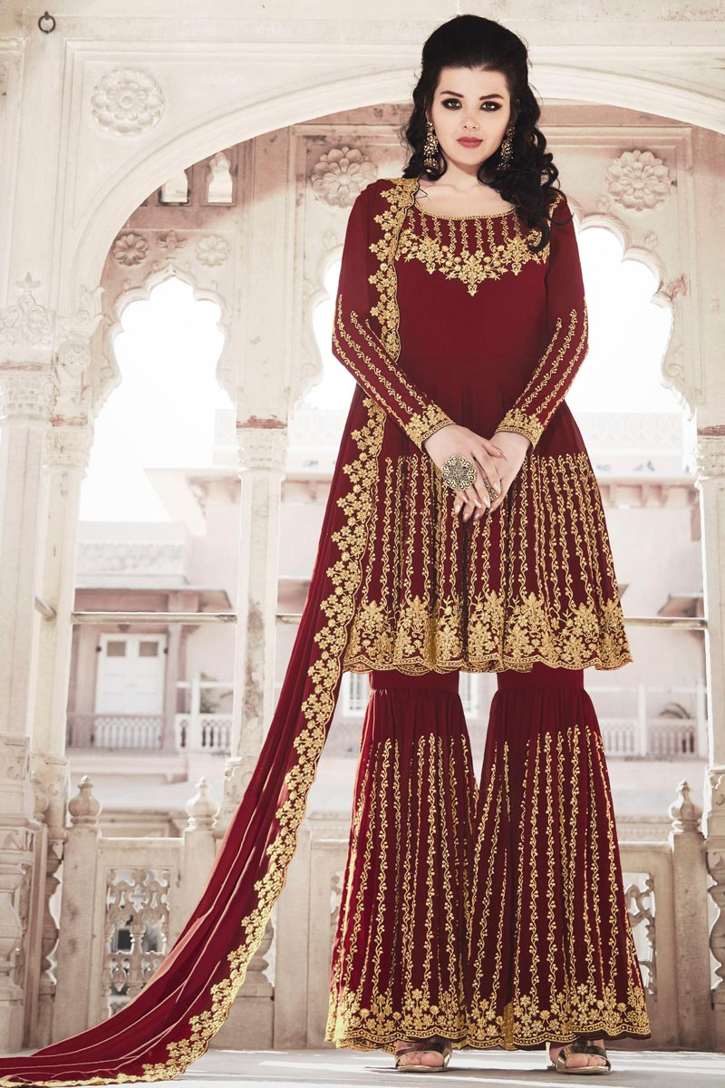 Function Wear Designer Maroon Color Sharara Suit In Georgette Fabric
