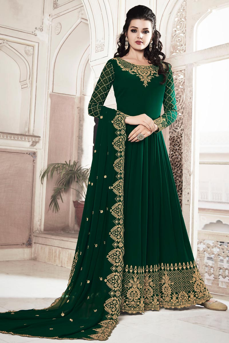 Function Wear Designer Dark Green Color Anarkali Suit In Georgette Fabric