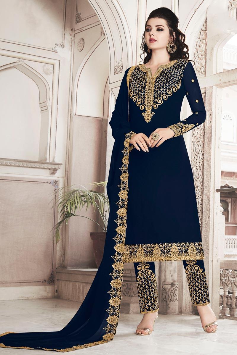 Function Wear Navy Blue Color Designer Salwar Suit In Georgette Fabric