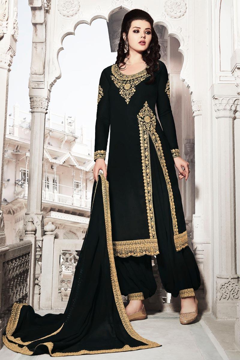 Function Wear Georgette Fabric Designer Black Color Patiala Suit