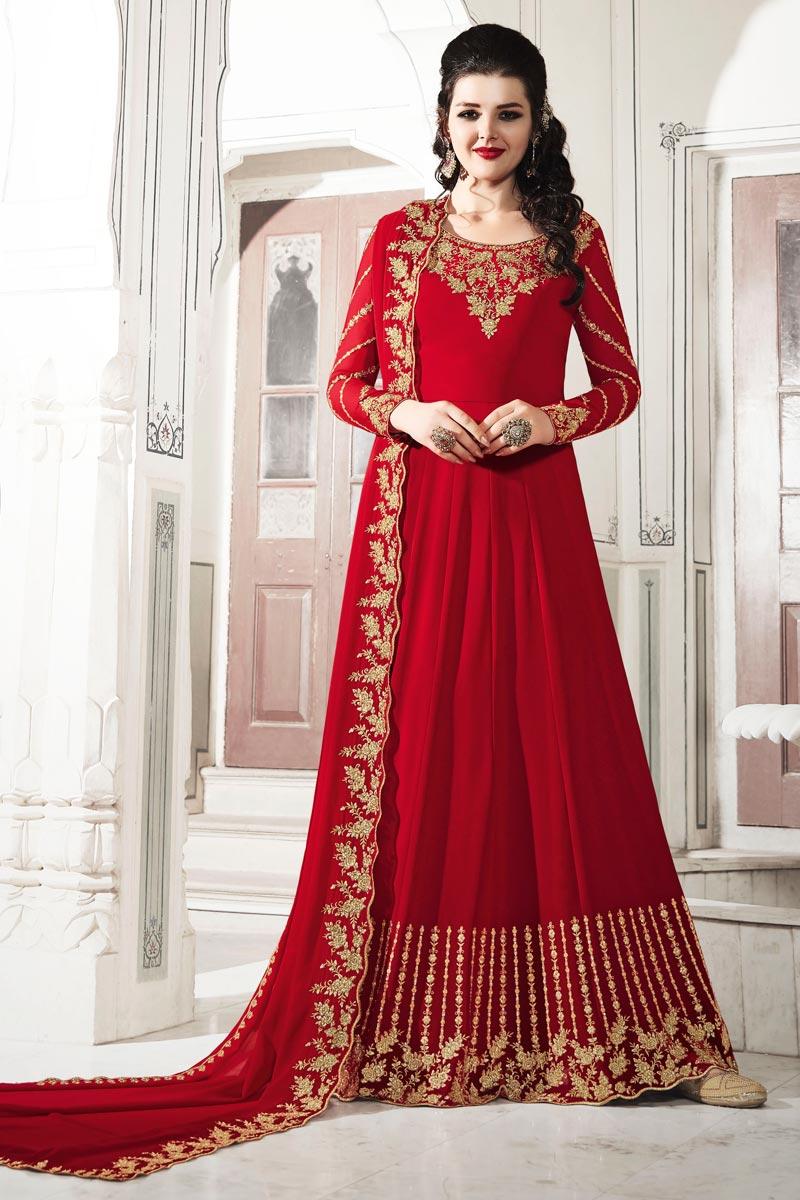Eid Special Function Wear Georgette Fabric Designer Red Color Anarkali Suit