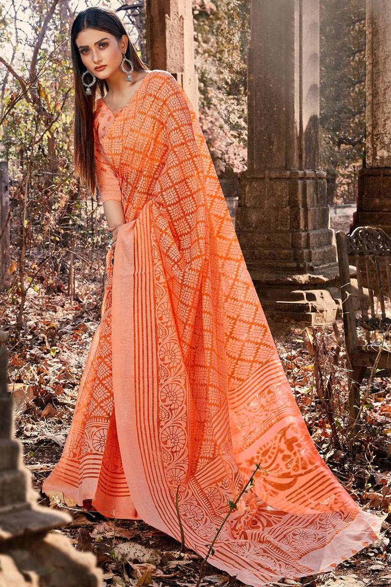 Orange Color Festive Wear Printed Designer Saree In Brasso Fabric