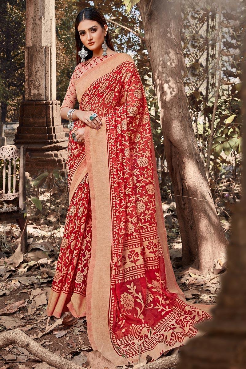 Festive Wear Red Color Brasso Fabric Printed Designer Saree