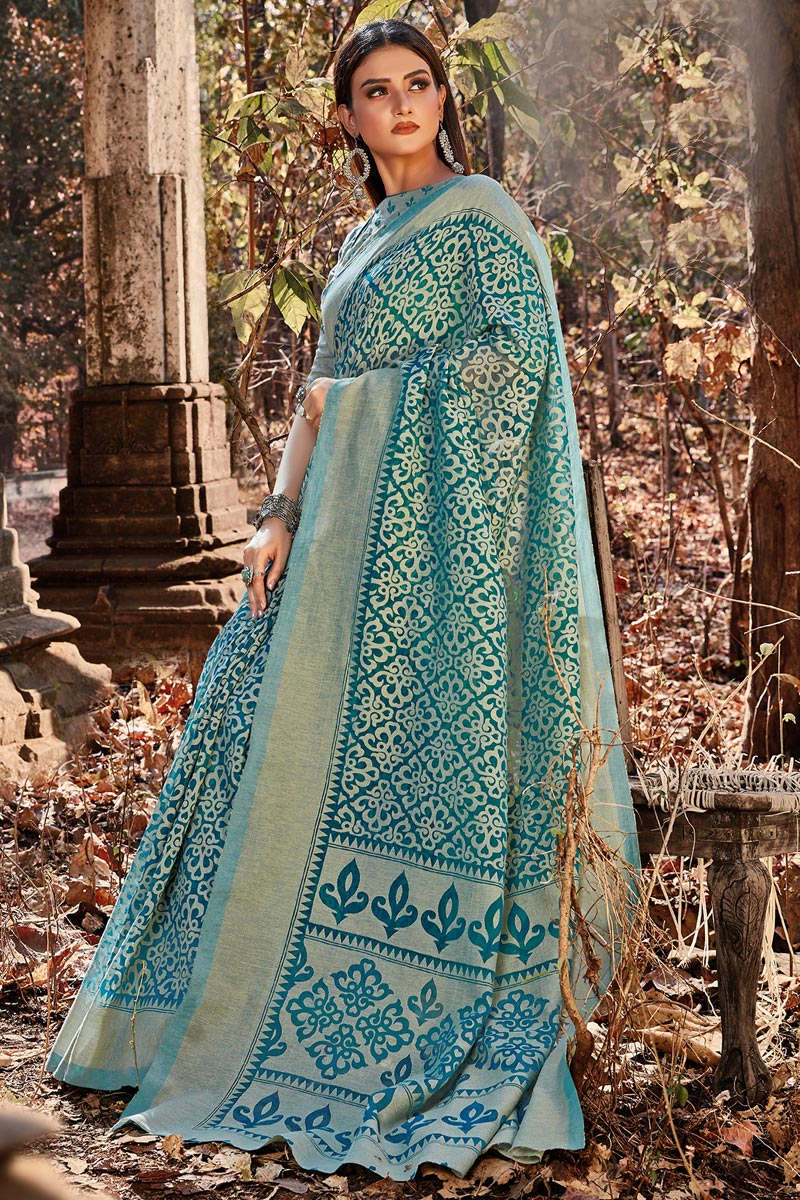 Cyan Color Festive Wear Printed Designer Brasso Fabric Saree