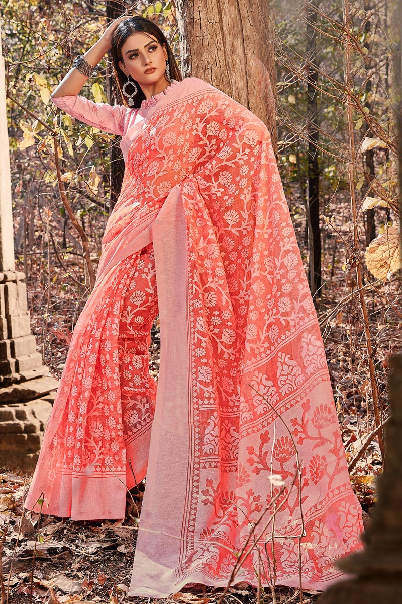 Peach Color Brasso Fabric Festive Wear Printed Designer Saree