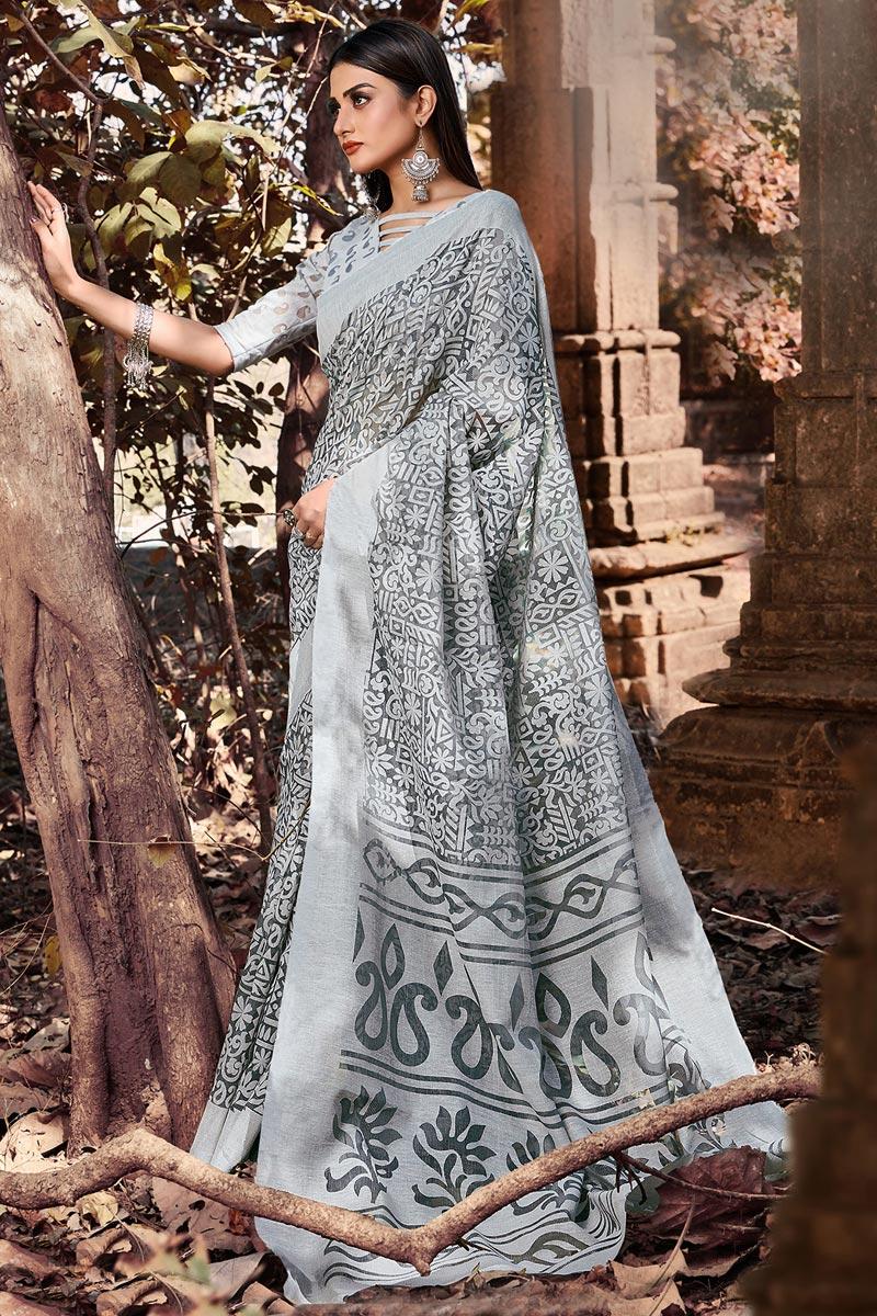 Festive Wear Printed Designer Saree In Grey Color Brasso Fabric